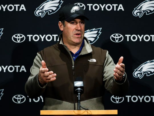 Philadelphia Eagles head coach Doug Pederson speaks