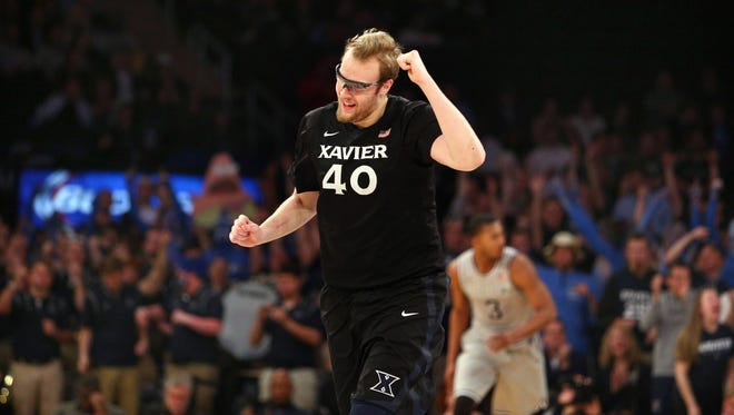 Xavier's Matt Stainbrook reacts during the second half of Friday's win over Georgetown.