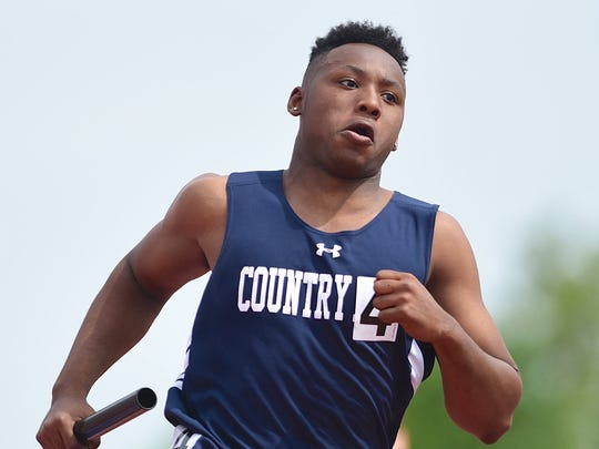 Darryn Jordan of Cincinnati Country Day competes on the 4 x 100 meters relay at the Ohio Track and Field State Championship in Columbus.