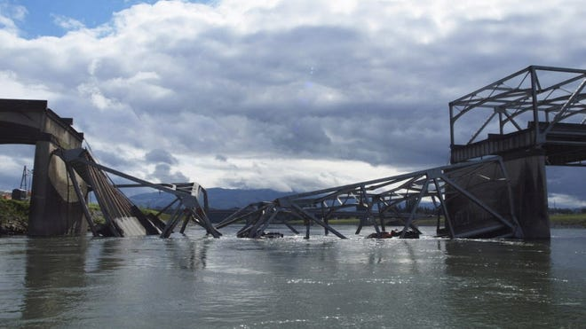 The Interstate 5 bridge over the Skagit River, collapsed May 23, 2013.