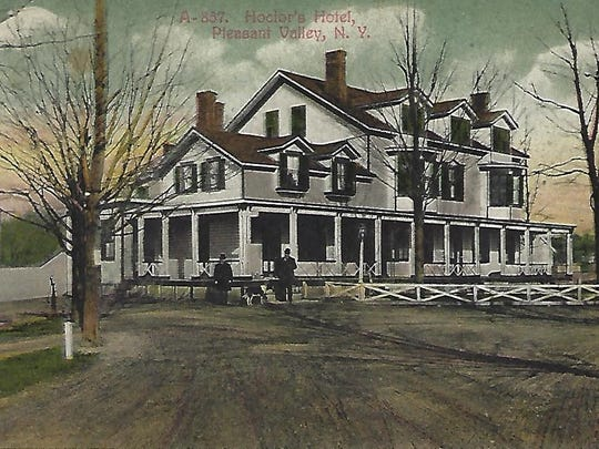 This vintage postcard shows the inn in Pleasant Valley during the early 20th century when it was known as the Hoctor Hotel. The historic building was demolished in 1989 to make room for the Milestone Square Shopping Plaza parking lot.