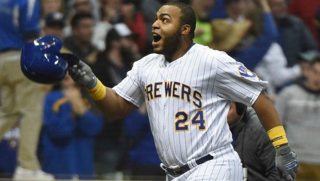 Jesus Aguilar reacts after hitting a walk-off home run against the Miami Marlins last month.