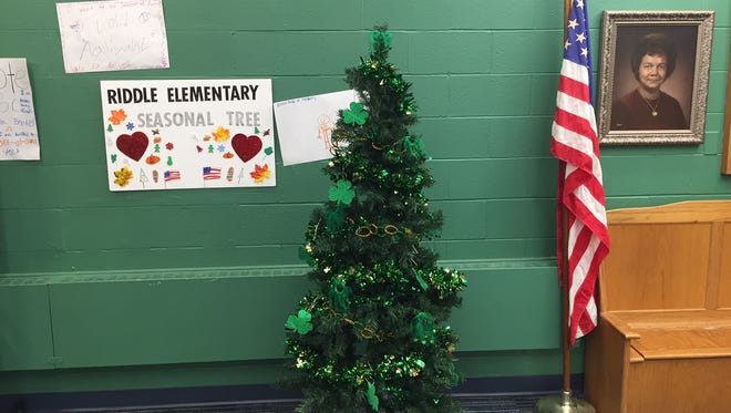 The seasonal tree in the entryway at Riddle Elementary School west of downtown Lansing; decorated for St. Patrick's Day.