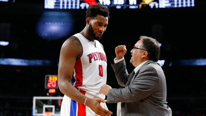 Detroit Pistons head coach Stan Van Gundy congratulates center Andre Drummond in the second half of an NBA basketball game against the Indiana Pacers, Saturday, Dec. 12, 2015 in Auburn Hills, Mich. Detroit won 118-96.