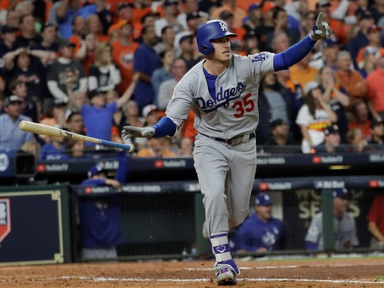Los Angeles Dodgers' Cody Bellinger celebrates after