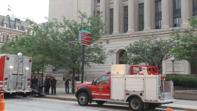 The Cincinnati Fire Department's bomb squad responds to a possible threat last year at the Hamilton County Courthouse.