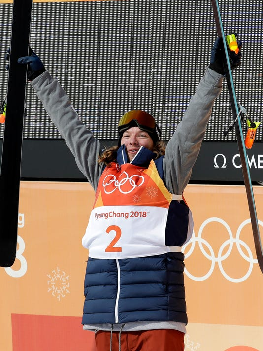 Gold medal winner DavidWise, of the United States, celebrates his run during the men's halfpipe final at Phoenix Snow Park at the 2018 Winter Olympics in Pyeongchang, South Korea, Thursday, Feb. 22, 2018. (AP Photo/Lee Jin-man)