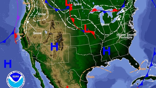 Weather forecast for Jan. 11, according to the NOAA Weather Prediction Center