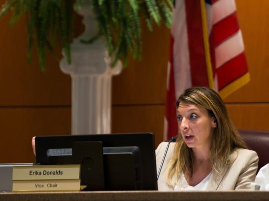 Vice Chair Erika Donalds speaks during the Collier County School Board meeting on Tuesday, September 26, 2017 at the Dr. Martin Luther King Jr. Administration Center. The board voted on whether to join a proposed lawsuit against the state over HB 7069.