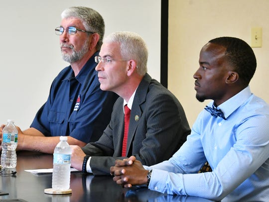 The Palm Bay City Council Seat 4 candidates includes, from left, Thomas Gaume, Tres Holton and Kenny Johnson.