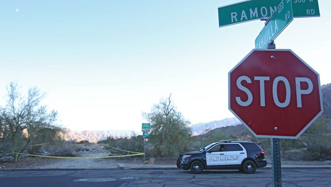 Police investigate an area of desert near Ramon and Cahuilla Rd where a sexual assault may have happened, Thursday, October 2, 2014.