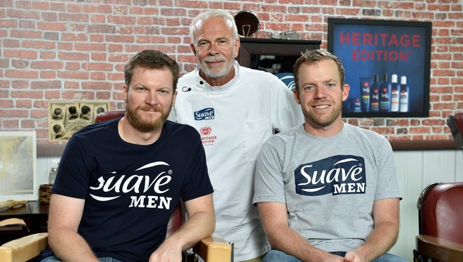 Barber Steve Ellsworth has cut the hair of many NASCAR drivers, including Dale Earnhardt Jr., left, and Regan Smith, right. Ellsworth also used to cut the hair of legend Dale Earnhardt.