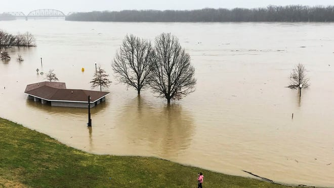 The Ohio River has flooded New Albany's riverfront as of Saturday, Feb. 24.