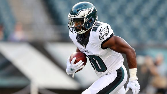 Philadelphia Eagles wide receiver Paul Turner (80) runs with the ball during warm ups before a preseason NFL football game against the Tampa Bay Buccaneers Thursday, Aug. 11, 2016, in Philadelphia.(AP Photo/Mel Evans)
