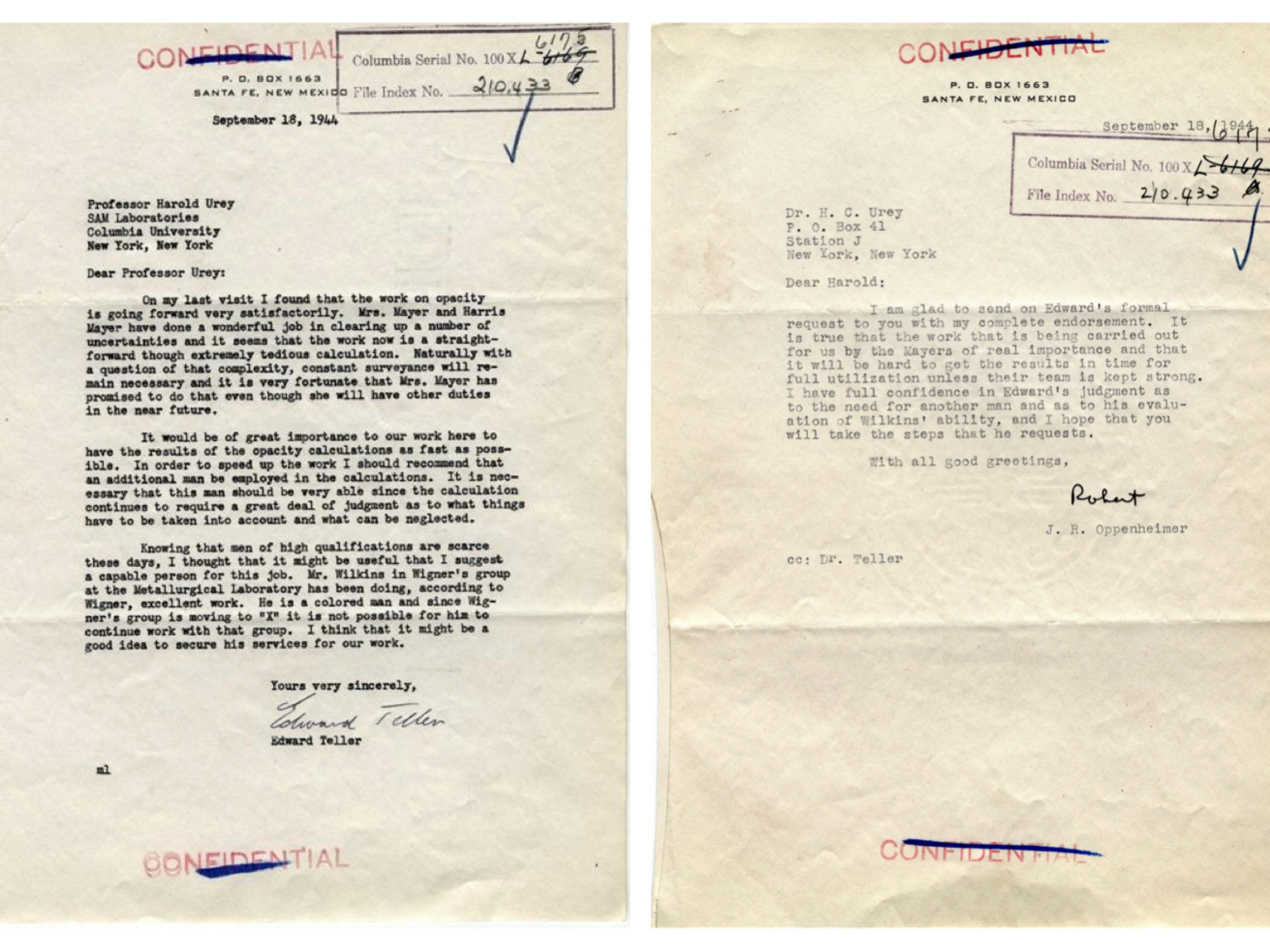 Edward Teller wrote to War Research Director Harold