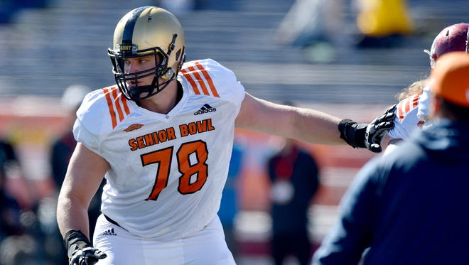 North Squad offensive tackle Brett Toth of Army (78) blocks during Senior Bowl practice at Ladd-Peebles Stadium.