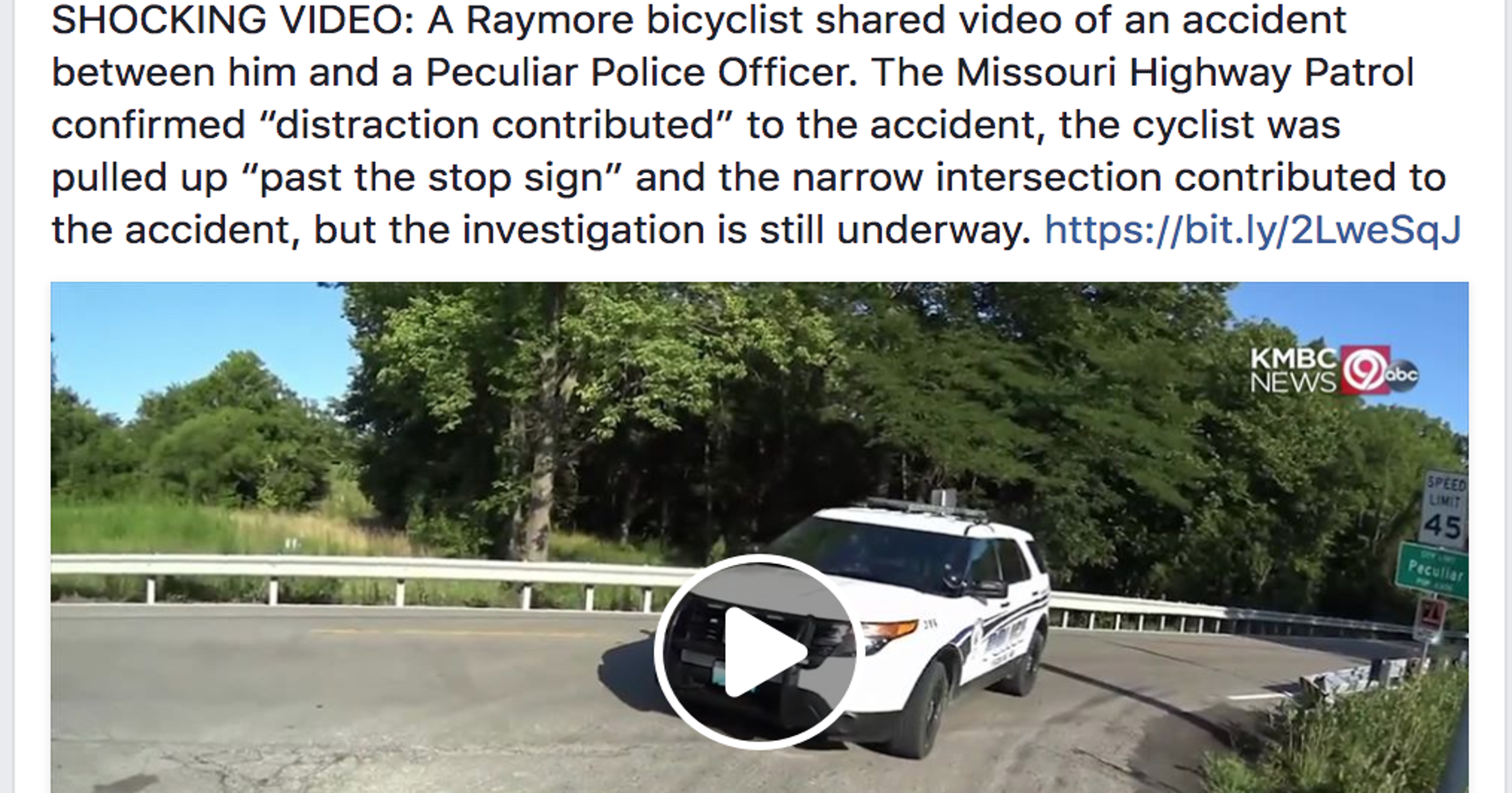 Video shows cop driving into bicyclist stopped at intersection