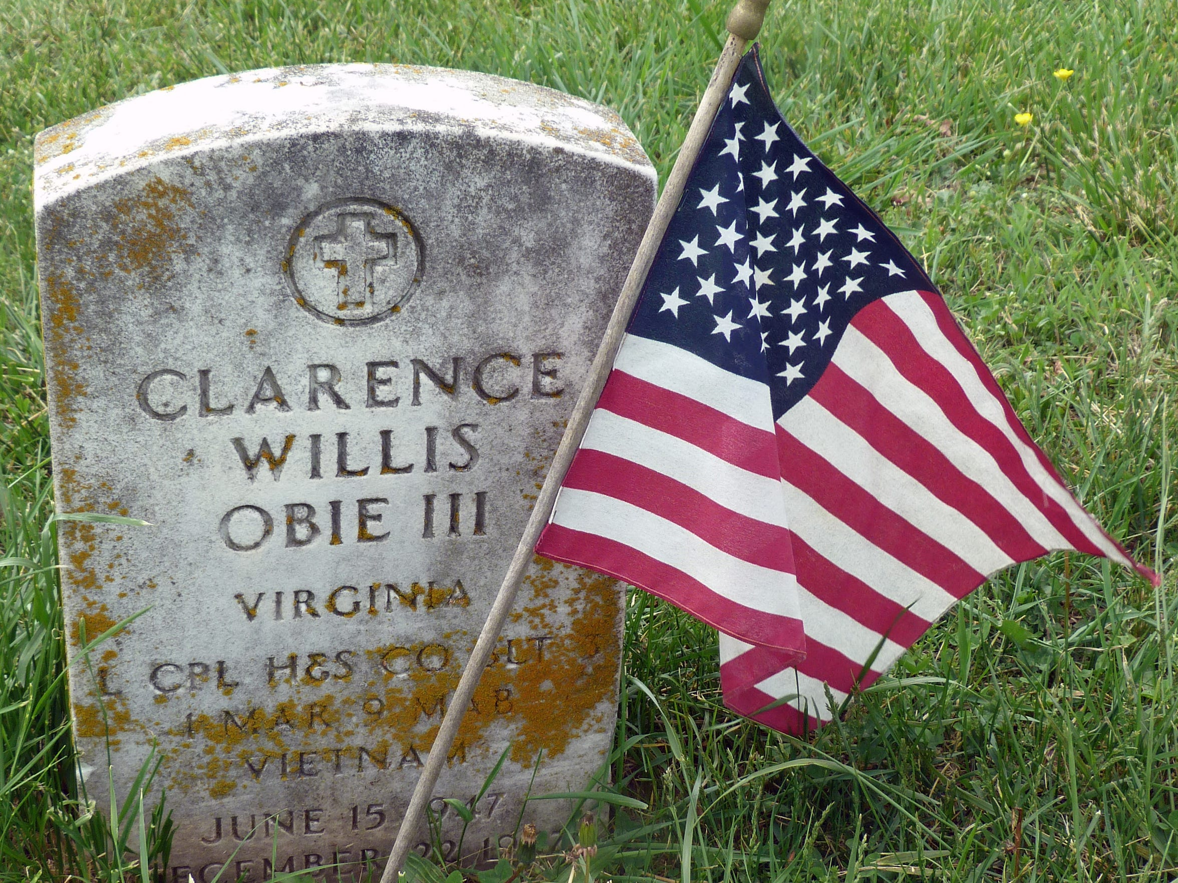 """Clarence """"Bo"""" Obie's grave at Beverly Manor Baptist Church."""