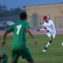 Desert Mirage High School's Irvin Centeno makes a pass during the first half against Nogales High School at Coachella Valley High School in Thermal on Friday.