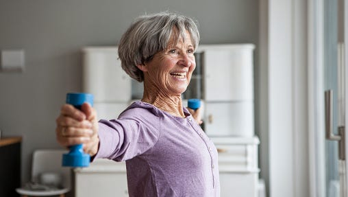 A woman doing fitness exercise