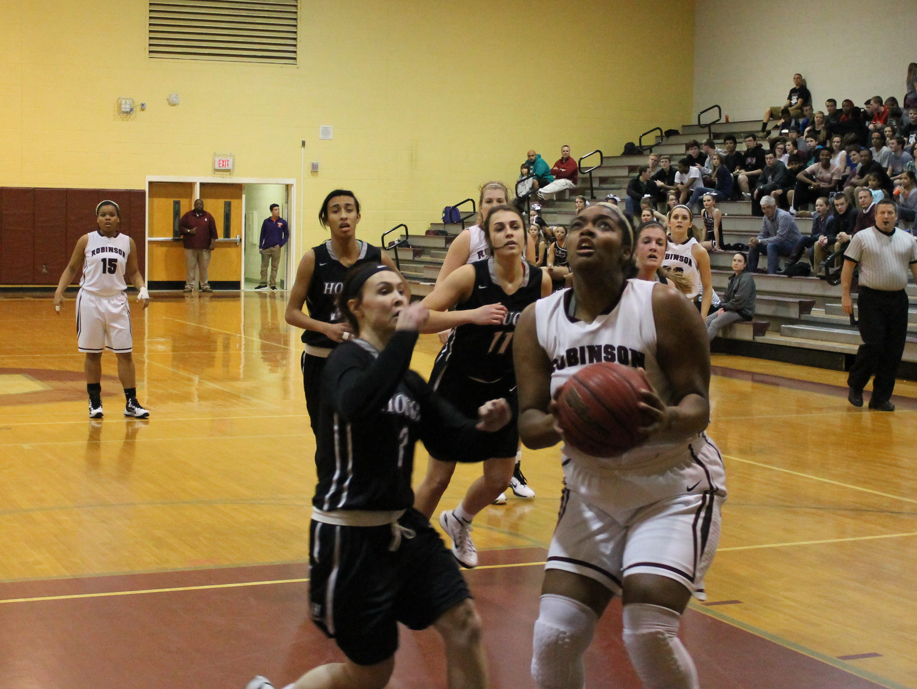 Ashley Bearden looks to the basket for a first half shot against Hough.
