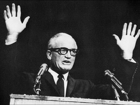 Barry Goldwater addresses a campaign rally at Madison