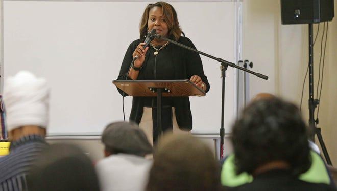 State Rep. Robin Shackleford spoke Thursday, Aug. 4, 2016, during a community conversation on racial tension, held at New Beginnings Fellowship Church.