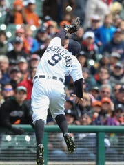 Tigers 3B Nick Castellanos catches a foul pop from the Yankees' Jacoby Ellsburry for the game's first out Friday, April 8, 2016 at Comerica Park in Detroit, MI.