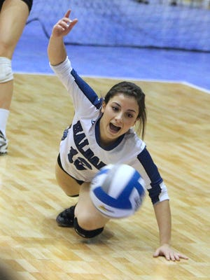 Haldane's Melissa Tringali digs the ball during the NYSPHSAA volleyball Class D championship with Portville at the Glens Falls Civic Center Nov. 16, 2014.