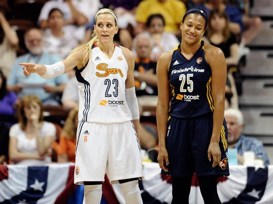 Connecticut Sun's Katie Douglas, left, and Indian Fever's Marissa Coleman, right, reacts to a call form an official during the first half of a WNBA basketball game, Tuesday, June 17, 2014, in Uncasville, Conn. (AP Photo/Jessica Hill)