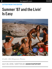 A screen shot of a Bon Appetit column about Rehoboth Beach. Just one problem: The photo isn't a beach in Delaware. It's Lake Mead in Nevada.