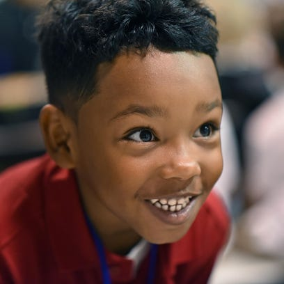 Nathan Boone III, a kindergarter is excited at Durand