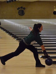 Pennfield sophomore Haley Hooper bowls during the MHSAA Division 3 Singles State Championships at M-66 Bowl on Saturday.