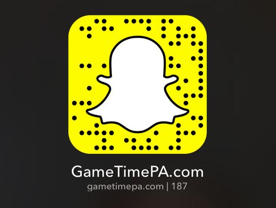 Make sure to follow us on Snapchat at gametimepa.com,