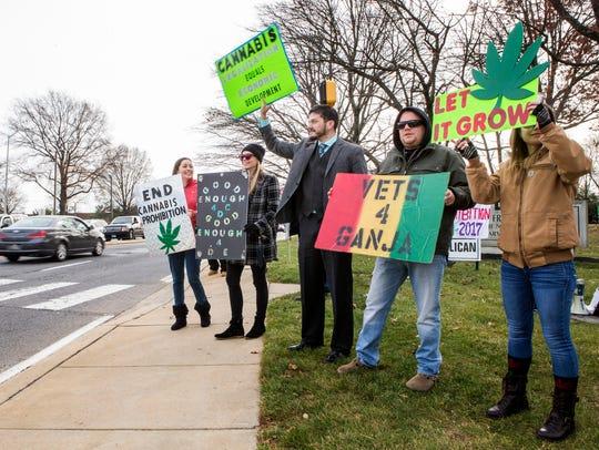 Marijuana advocates demonstrate support for legalization