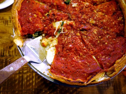 Stuffed deep-dish pizza at Giordano's