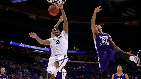 Xavier's James Farr scored 18 points in the Musketeers 71-53 win over Weber State in the 2016 NCAA Tournament First Round at the Scottrade Center in St. Louis Friday March 18, 2016.