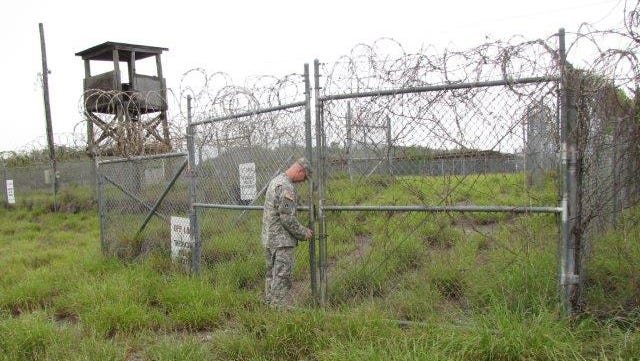 Guard tower and gate at Camp X-Ray at the Guantanamo Naval Station.