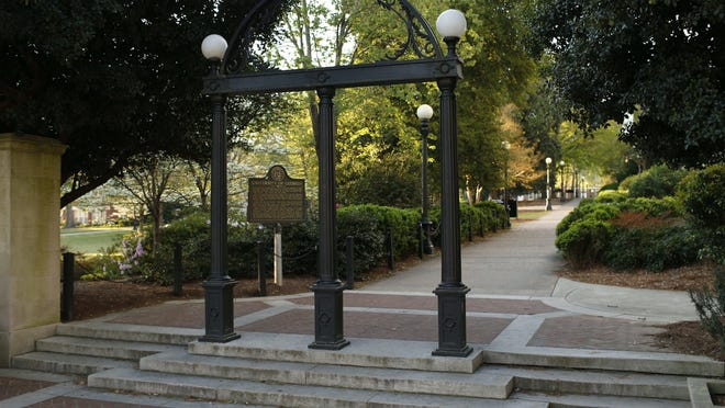 The University of Georgia Arch at the entrance to North Campus in downtown Athens. Opponents of the campus free-speech bill fear the legislation could prevent colleges from barring organizations that promote race and gender discrimination.