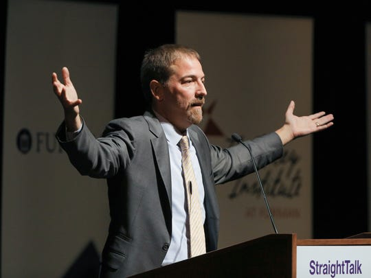 "TV journalist Chuck Todd, moderator of ""Meet the Press,"""
