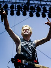 Sum 41 lead singer Deryck Whibley performs on the FedEx Stage during for the first day of the Beale Street Music Festival at Tom Lee Park.