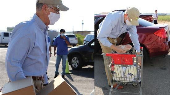 Texas Rep. Mike Conaway helped distribute 2512 boxes of food to families in need.