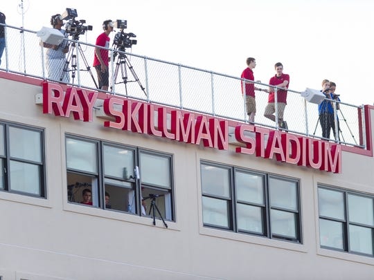 The press box at Center Grove High School shows the