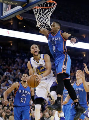 Golden State Warriors' Stephen Curry (30) was selected as one of the starters for the NBA All-Star Game while Oklahoma City Thunder's Russell Westbrook (0) was not voted into a starter's spot.
