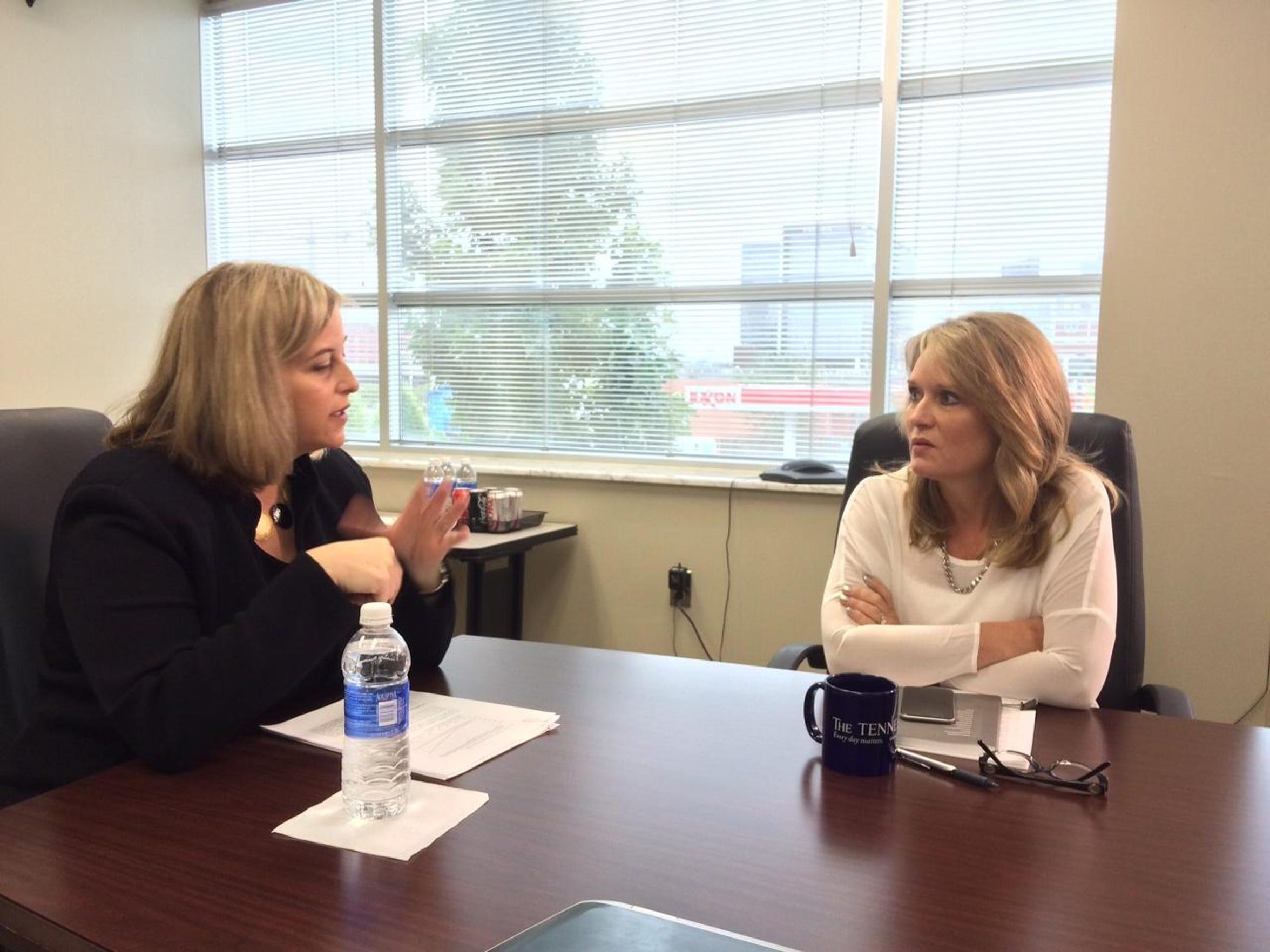 Nashville mayoral candidate Megan Barry speaks to The
