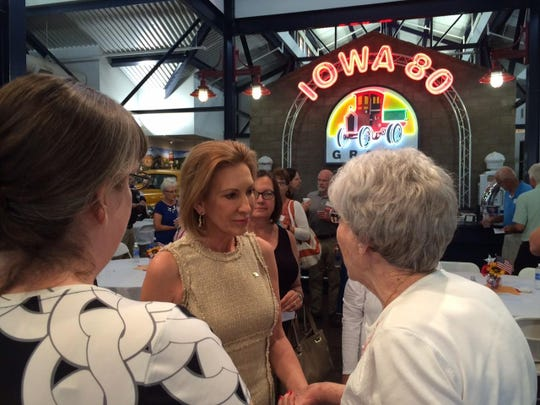 Carly Fiorina greets Walcott residents during a campaign stop Saturday, July 25, 2015, at the headquarters for Iowa 80 Truckstop.