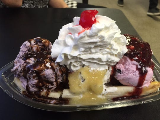 Despite trying almost everything on the menu Seth and Andrea Weibel managed to finish this banana split sundae.