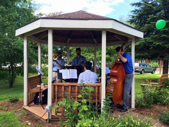 Members of the Pine Street Jazz Ensemble perform in the Pillsbury gazebo.
