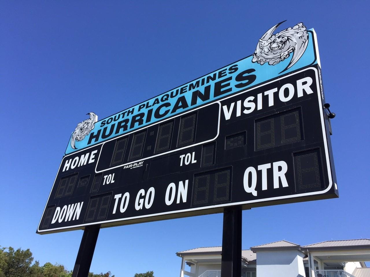 The scoreboard at Bradley's HS football field in Port Sulphur. They were named the Hurricanes after Katrina.