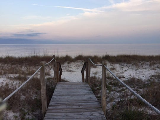 Walkway at sunset at Alligator Point